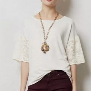 Anthro Dolan Bell Sleeve Top XS Embroidered Blouse